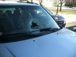 Meredith Nilan's vehicle after police say she ran over Peter Moore. (PLANET VALENTI)